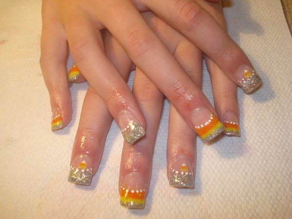 Plain Nails with Silver Tips with Candy Corn Designs and White Dots