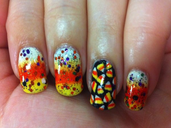 Candy Corn Nails Candy Corn Nails With One