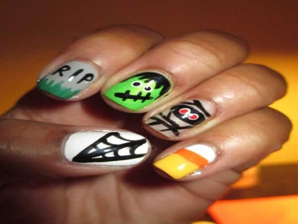 Halloween Designs with Single Candy Corn Nails
