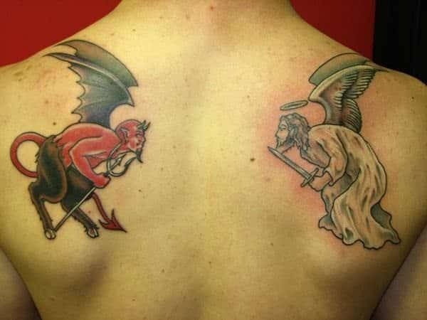 Winged Devil and Winged Angel Tattoos
