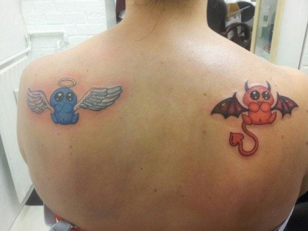 Blue Baby Angel and Red Baby Devil Tattoos
