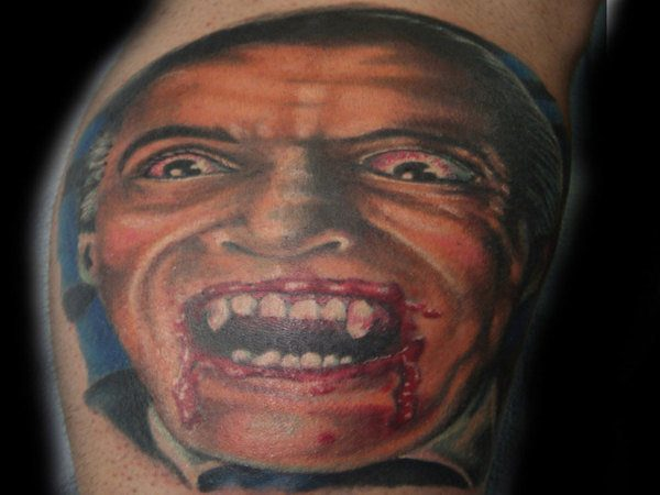 Christopher Lee As Dracula with Bloody Fangs Tattoo