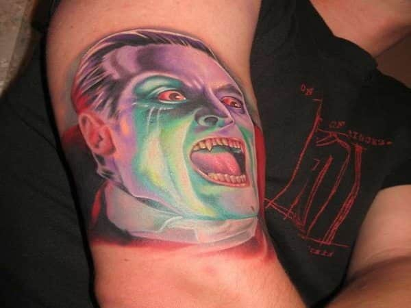 Colored Dracula Tattoo with Mouth Open Tattoo
