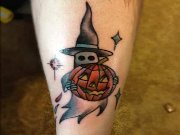 Ghost Tattoo with Witch Hat and Carrying Pumpkin Tattoo