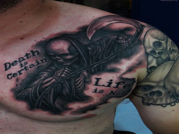 Grim Reaper Tattoo On Front of Shoulder Tattoo with Phrase
