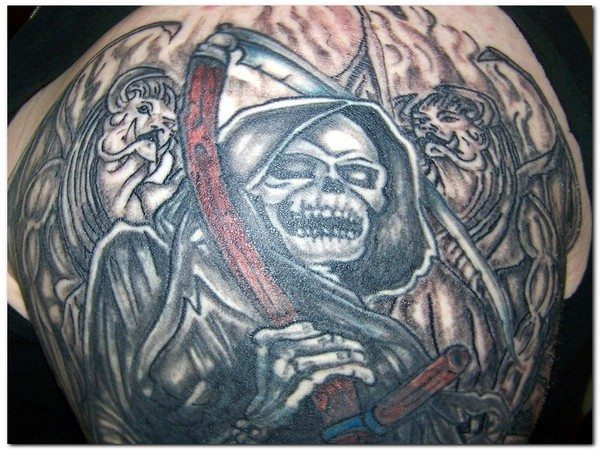 Grim Reaper Tattoo with Smile and Creatures