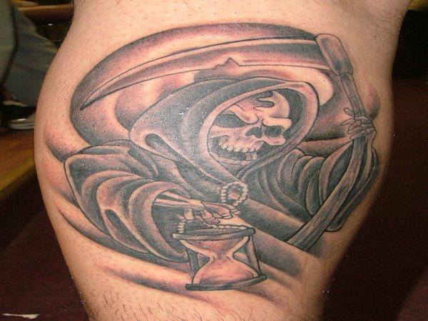 Grinning Grim Reaper with Hourglass and Scythe Tattoo