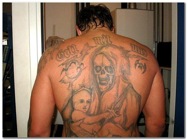 Grim Reaper Carrying Child Back Tattoo