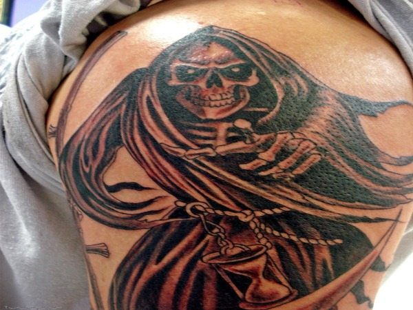 Grim Reaper Pointing Tattoo