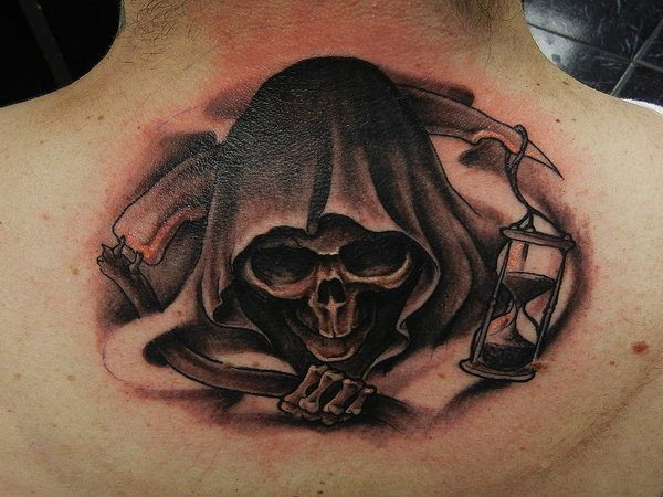 Hooded Grim Reaper Back of Neck Tattoo