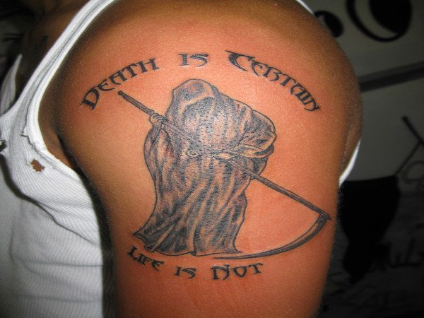 Death Is Certain Life Is Not Grim Reaper Arm Tattoo