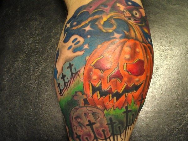 Halloween Carved Pumpkin tattoo with Graveyard, Ghosts and Bat
