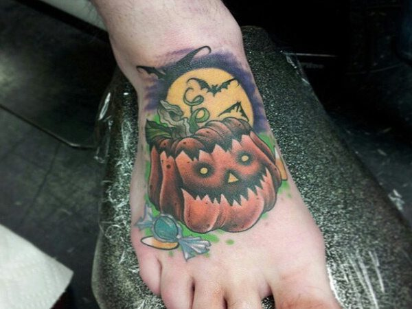 Top of the Foot Halloween Pumpkin Tattoo with Full Moon and Bats