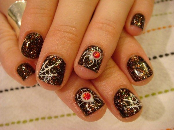 Black Spider Glitter Nails with White Spiders, Webs, and Red Rhinestones