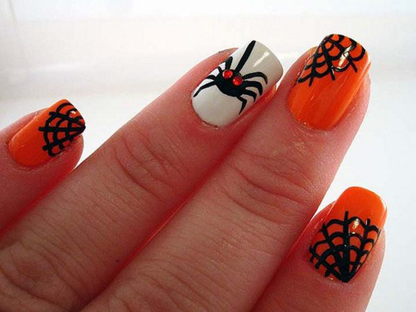 White and Orange Nails with Black Webs and One Spider with Red Eyes