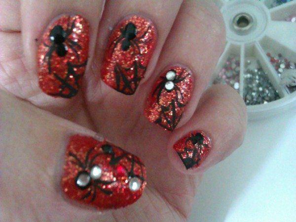 Red Glitter Nails with Black Spiders, Webs, and Rhinestones