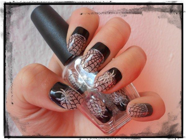 Plain Nails with Black Cuticles, Black Spider Webs, and Silver Spiders