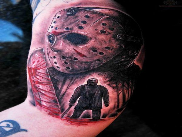 Jason Voorhees Tattoo with Profile Image and Small Full Bodied Image
