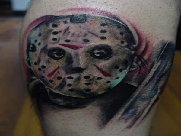 Jason Voorhees Mask and Machete Tattoo