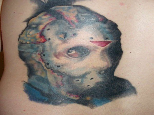 Jason Voorhees Deformed Mask Colored Tattoo