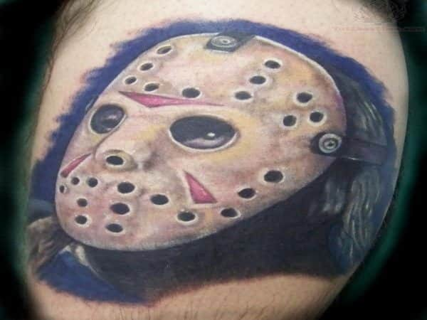 Jason Voorhees Colored Mask Tattoo with Blueberry Blue Background