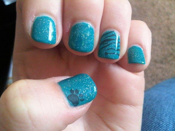 Glitter Light Blue Nails with Leopard Stripes and Paw Print