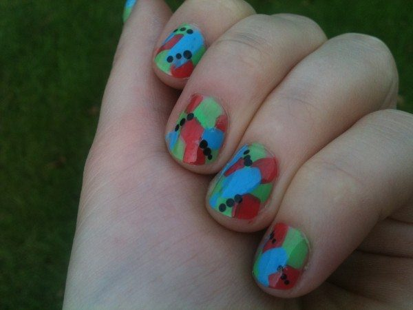 Lightblue Nails with Red and Green Spots with Black Dots