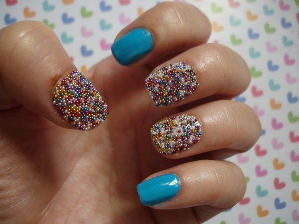 Light Blue Nails with Rainbow Pearls