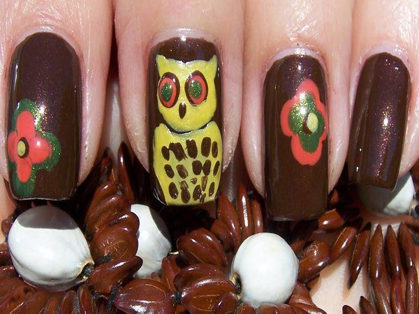 Dark Brown Nails with Pink and Green Flowers and Yellow Owl