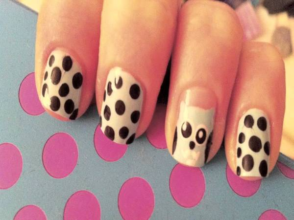 Pink Nails with Brown Dots and Owl
