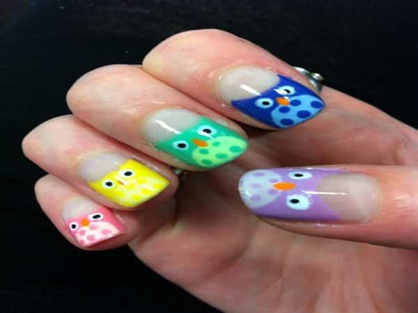 Pink, Yellow, Green, Blue, and Purple Owl Nails