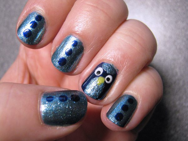 Dark Grey Glitter Nails with Dots and Owl