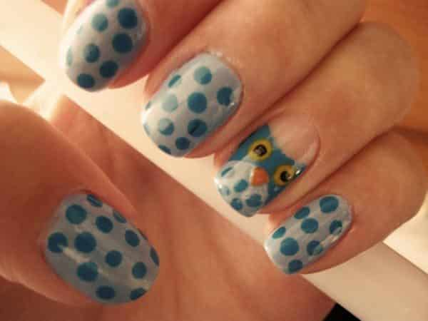Light Grey Nails with Dark Grey Dots and Owl