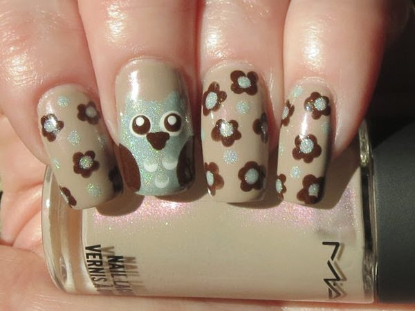 Tan Nails with Silver and Brown Flowers and Silver Owl