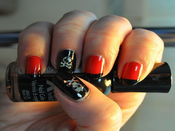 Black and Orange Nails with Silver Skull and Cross Bones