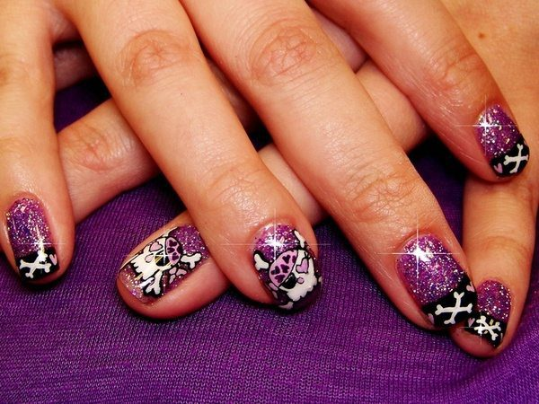 Purple Glitter Nails with Skull and Crossbones and Black Tips