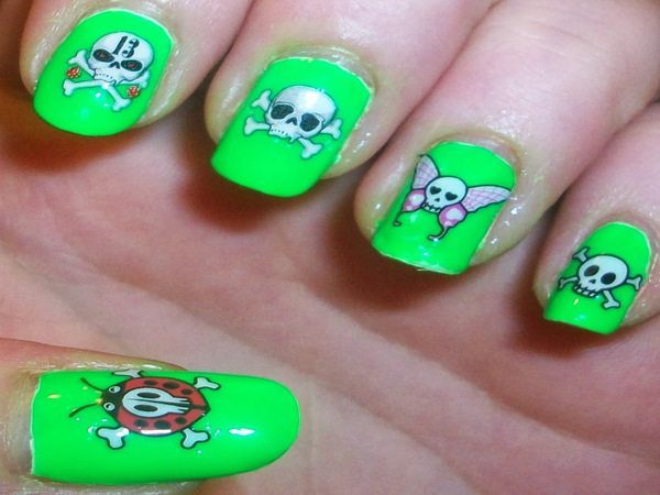 Neon Green Nails with Skull and Crossbones, and Lady Bugs