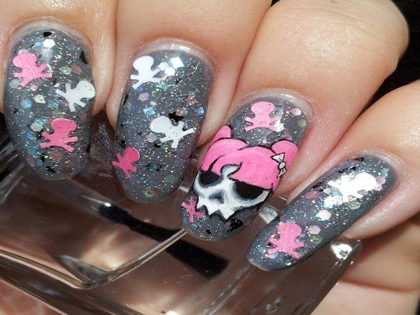 Grey Glitter Nails with Pink Haired Skulls and Cross Bones Confetti