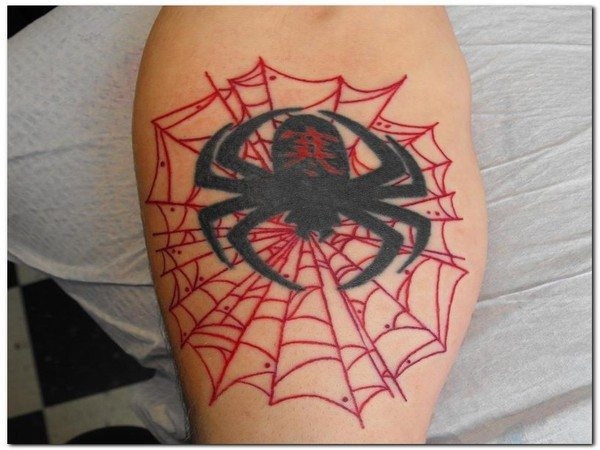 Red Spider Web Tattoo with Spider and Chinese Symbol