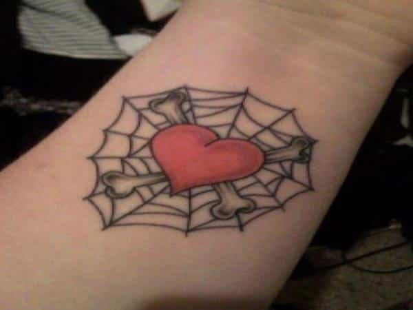 Spider Web Tattoo with Heart and Bones