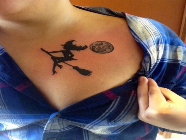 Black Ink Witch Riding Broom Tattoo with Full Moon
