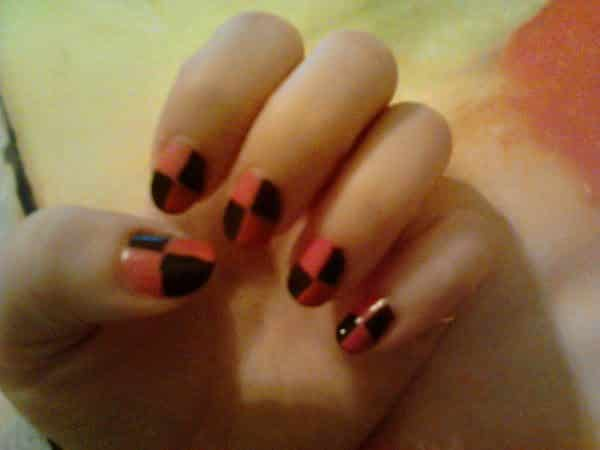 Orange and Brown Checkered Nails