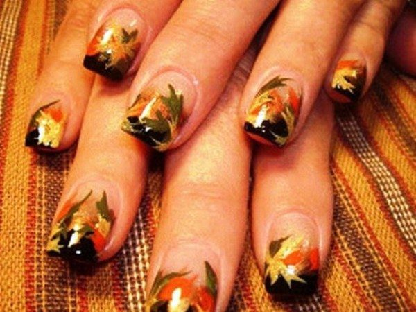 Plain Nails with Brown Tips, and Green, Yellow, Orange, and Red Leaf Decorations
