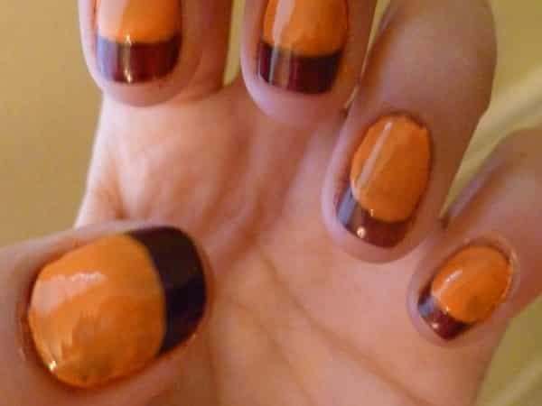 Orange Nails with Brown Tips