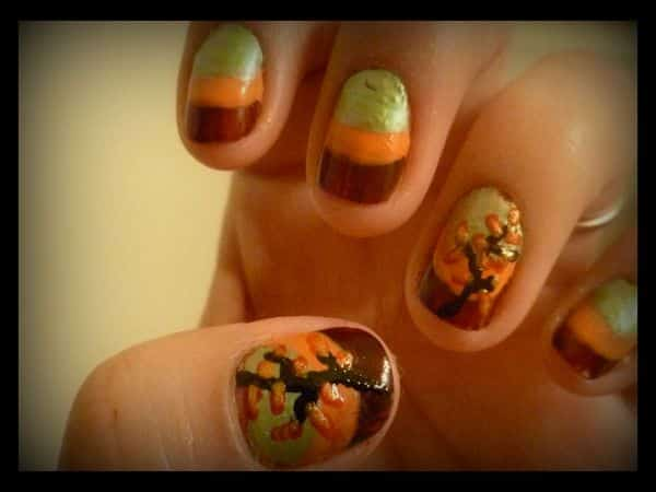 Brown, Orange, and Green Nails with Trees