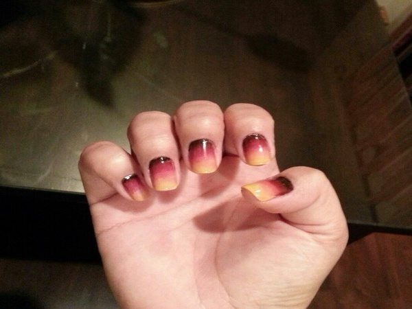 Brown Nail with Layers of Orange and Yellow