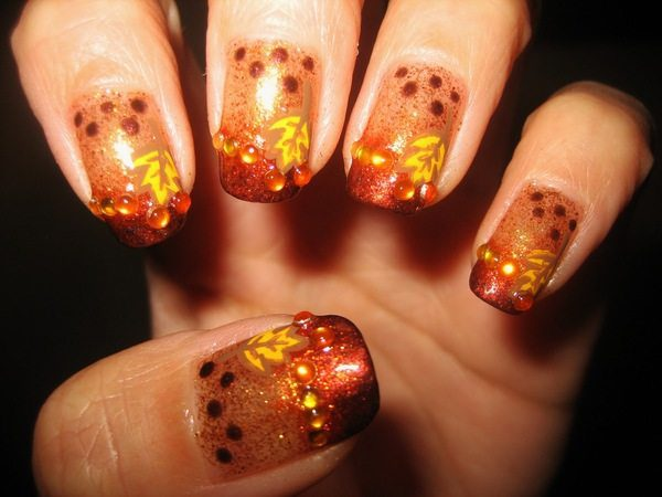 Orange Nails with Brown Dots, Brown Tips, Yellow Leaves, and Orange Rhinestones