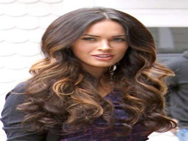 Megan Fox Long Curly Hair with Light Brown Streaks