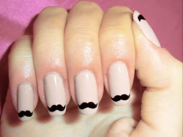 Pale Nails with Black Mustache Tips