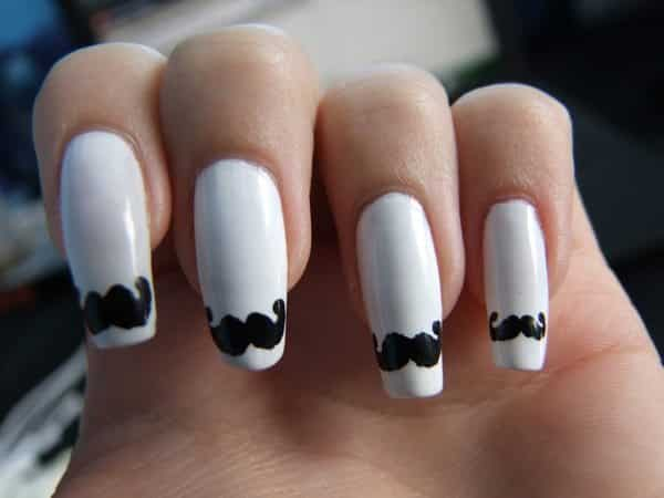 Long White Nails with Mustache Tips